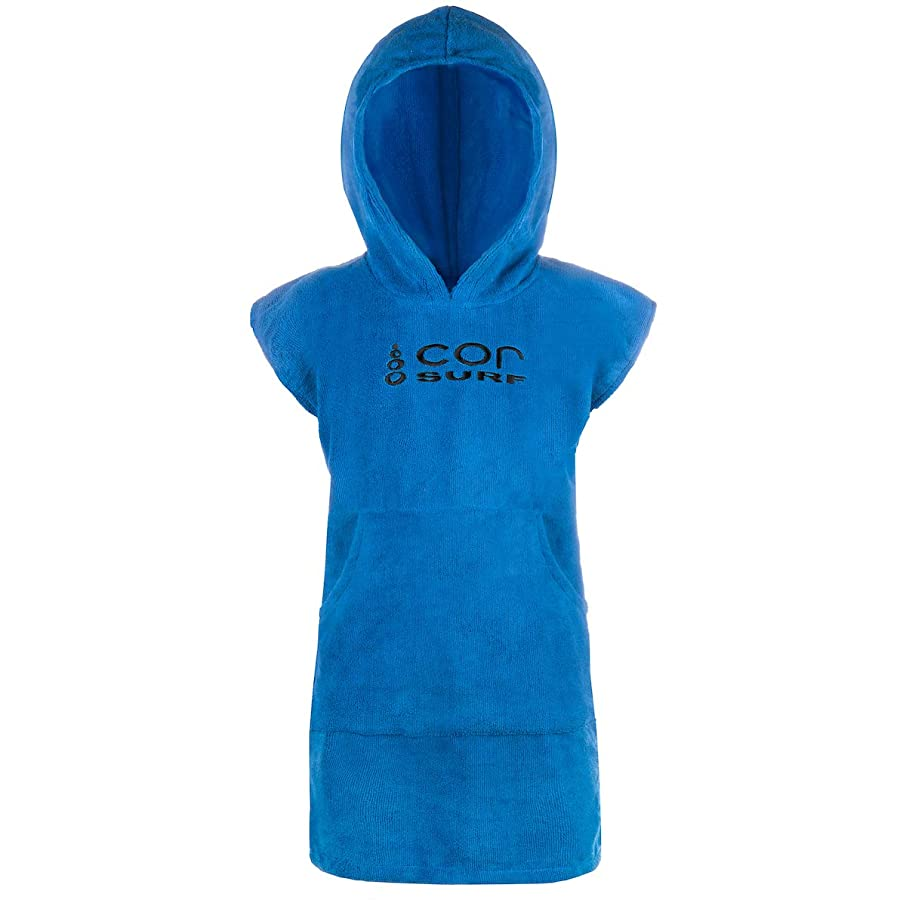 COR - Kids Towel Robe - Dark Blue - Changing Towel - for The Beach of Pool | fits Ages 3-10