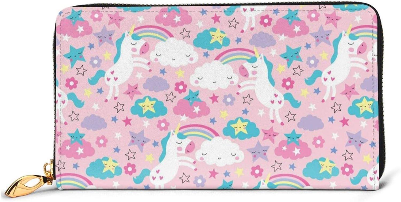 Rainbow White Price reduction Unicorn Leather Wallet Women Zip Around Regular store Long Purse
