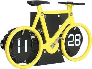 置き時計、自転車パタパタ時計、フリップスタンド時計、Midclock 、おしゃれ入学 新築祝い 贈り物 プレゼント、デスク リビング オフィス 時計インテリア飾り物 (黄)