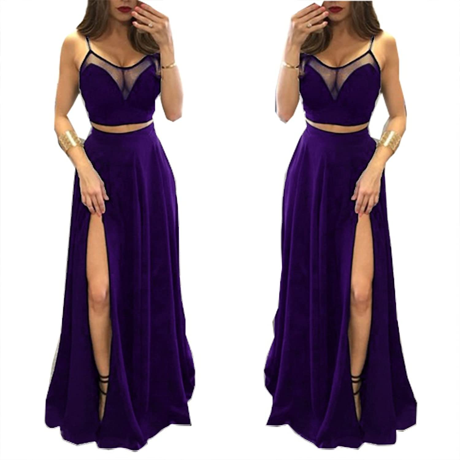 Fanciest Women's Spaghetti Straps Two Pieces Prom Dresses 2016 Evening Gowns
