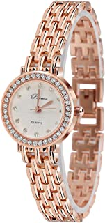 Women Expansion Adjustable Watch Elegant White Gold Rose Gold Shiny Diamond Ladies Watch Silvery/Gold-Tone Watch Band Best Gifts for Hers