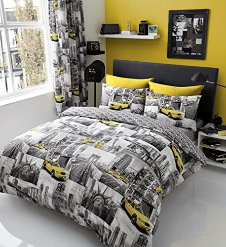 Gaveno Cavailia Luxury NEWYORK PATCHI Bed Set With Duvet Cover and Pillow Case, Polyester-Cotton, Multi, Single