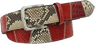 ESPERANTO Cintura 4 cm in Coccodrillo, Pitone e pelle scamosciata - colore Rosso, Fodera nabuk e fibbia anallergica