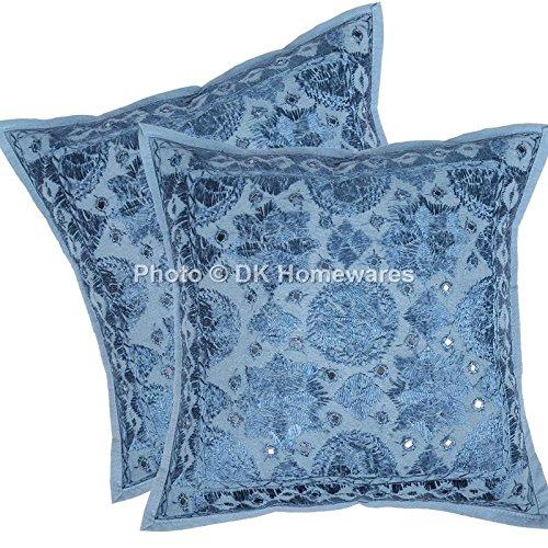 DK Homewares Indio 16 x 16 Pulgadas Decorativo Azul Funda De Almohada Algodón Bordado De Espejo De Trabajo Grande Bordado...