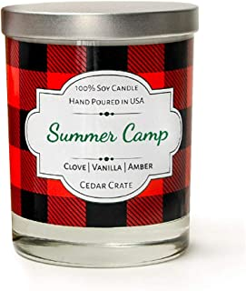 Summer Camp | Buffalo Plaid Candle Jar, 100% Soy Campfire Candle Scented With Vanilla | Clove | Amber | Hand Poured In The USA