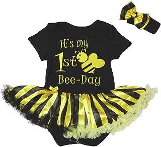 Petitebella It's My 1st Bee Day Bodysuit Black Yellow Striped Tutu Nb-18m