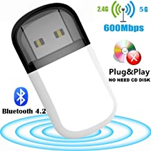 Bluesees WiFi Dongle, USB WiFi adaptador 600Mbps Bluetooth 4.2 Mini Dual Band 2.4G/5G Wireless Network Card for PC Laptop Desktop Win10/8/8.1/7/Vista/XP/2000, Mac OS X 10.6-10.13, no necesita CD