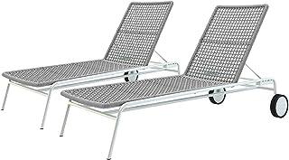 Outdoor Rope Sunbed Lounge with Adjustable Backrest Poolside Furniture