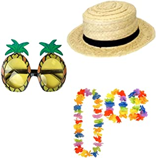 Rimi Hanger Boater Straw Hat Glasses and Hula Lei Hawaiian Luau Party Fancy Dress Accessory One Size