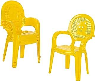 Resol 4 Piece Mini Kids Garden Chair Set - Plastic Outdoor Play Bedroom Children's Furniture - Yellow