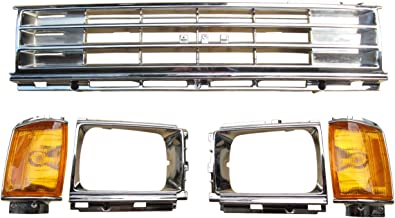 BUY N TRY Fully Chrome Grille Headlight door for Toyota Hilux Pickup 2WD RN65 1986-1988 TO1200131