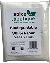 Spice.boutique Biodegradable White Paper Self Fill Teabags, Plastic Free, Extra Large for Fine Tea Infusion, 9x13cm, 200