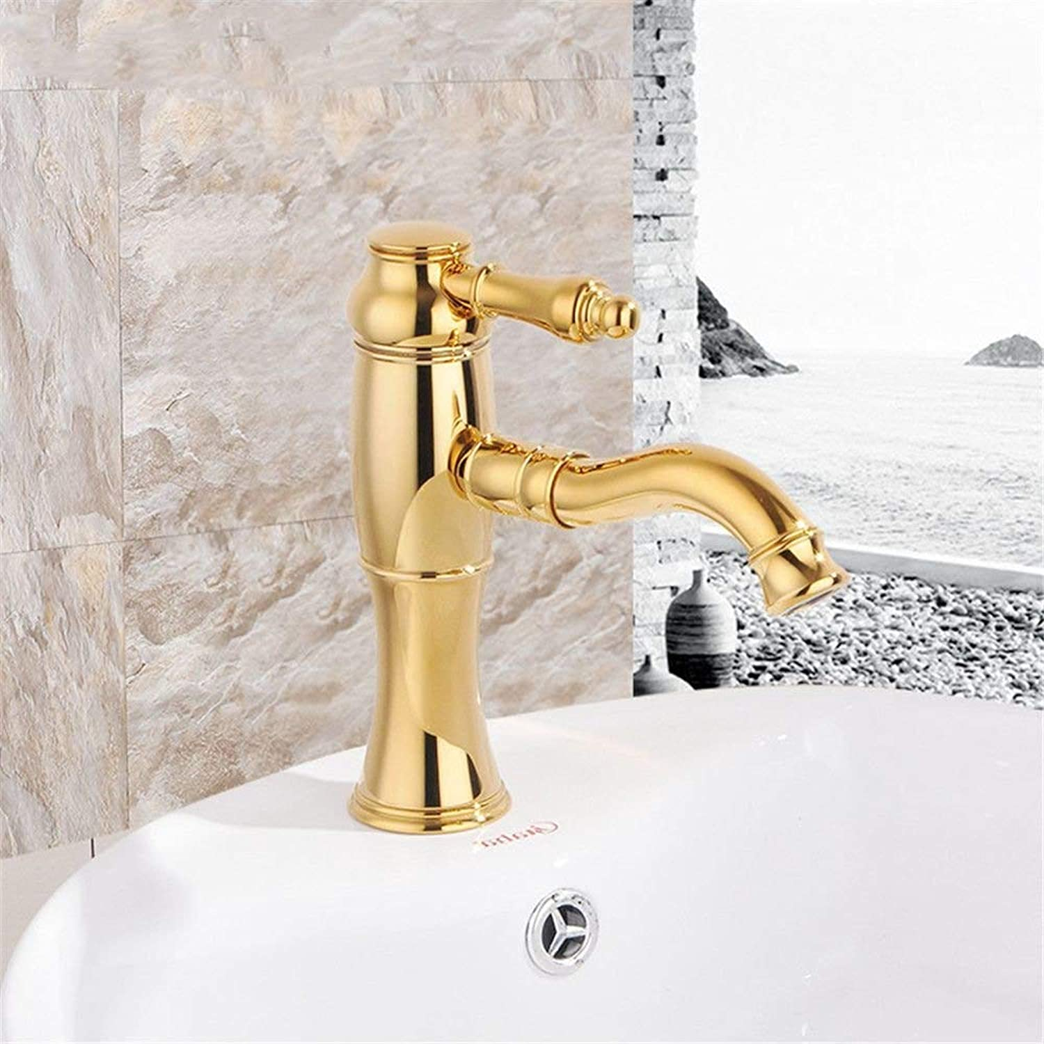 DOJOF Bathroom Vanity Sink Faucet Brass Antique Hot and Cold Water Bathroom Basin Sink Tap Bathroom Faucet