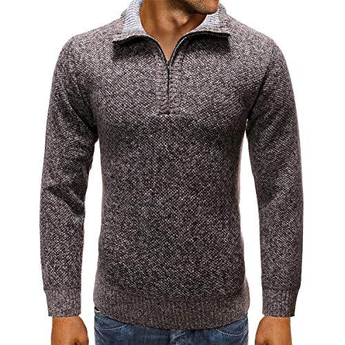 Heren gebreid vest dikke trui halve voorzijde rits turn down kraag fleece gevoerde lange mouw trui