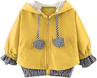 Toddler Baby Girls Casual Cotton Heart Plaid Hooded Windproof Coat Outwear Clothes Outfits Sets (12Months-4Years)