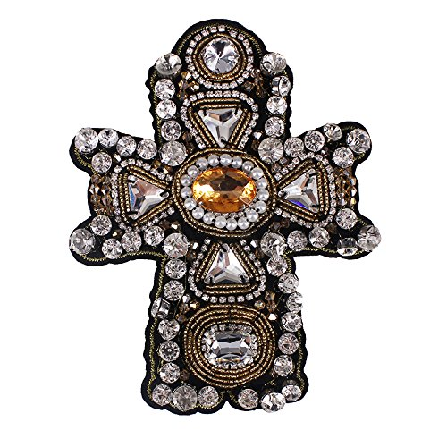 1piece Craft Beaded Crystal Rhinestones Cross Design Patches Applique Sew on Patches Clothes Bags Decorated DIY Sewing TH507