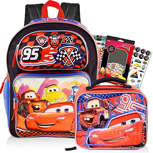 Disney Cars Backpack and Lunch Box School Set for Boys Kids ~ Deluxe 16 Inch Disney Cars School Bag with Insulated Lunch Box and Stickers (Disney Cars School Supplies)
