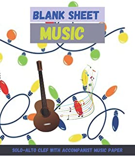 Blank Sheet Music Solo-Alto Clef with Accompanist music paper, Bright glowing bulb light decoration christmas decorative e...