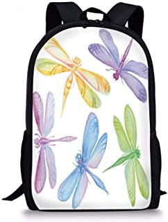 School Bags Dragonfly,Colorful Watercolor Winged Bugs Children Kids Nursery Spring Themed Artsy Picture Decorative,Multicolor for Boys&Girls Mens Sport Daypack