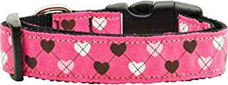 Mirage Pet Products Argyle Hearts Nylon Ribbon Collar for Pets, Large, Bright Pink