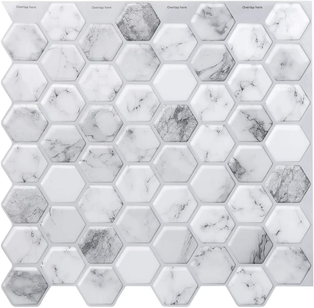 Reservation Decopus 3D Marble Hexagon Tile Stick San Francisco Mall Peel Hexago and Backsplash
