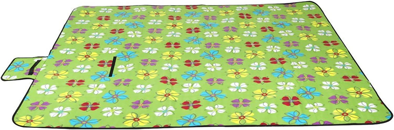 Green Small Flower   Extra-Large Water Resistant Foldable Picnic Blanket Mat Rug for Camping Beach Travel Festivals (79x59 inch)