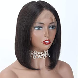 ANGIE QUEEN Short Bob Wigs Human Hair Lace Front Wigs For Black Women Brazilian Virgin Hair Straight Bob Wigs Remy Hair Wigs 14 Inches