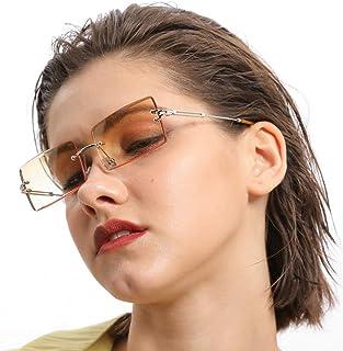 mincl/Fashion Small Rectangle Sunglasses Women Ultralight Candy Color Rimless Ocean Sun Glasses
