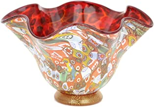 GlassOfVenice Murano Glass Millefiori Gold Fazzoletto Bowl