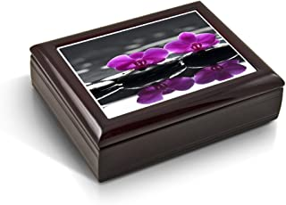 A Zen-Like Setting with Purple Orchids Tile Musical Jewelry Box - Over 400 Song Choices - My Heart Will Co On (Titanic)