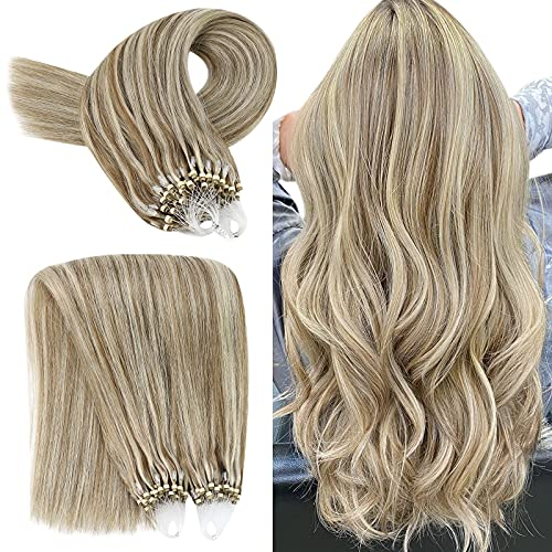 YoungSee Extension a Froid Easy Loop Naturel Cheveux Humain - Brun Clair mixte Blond Moyen #8/22 - Micro Ring Loop Extension Remy Hair 1g/s, 50g/pack, 22 Pouces