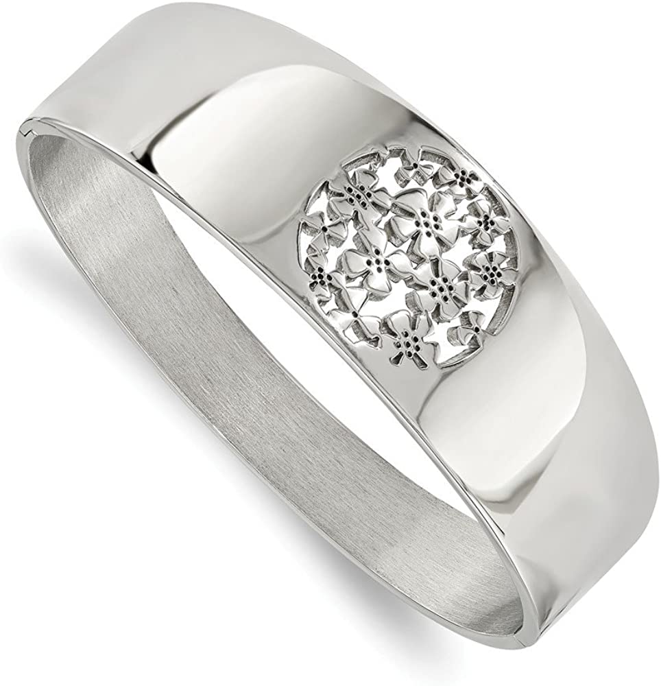 Solid Stainless Steel Circle Flower Cut-Out Hinged Bangle Cuff Bracelet