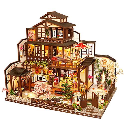 erhumama DIY Dollhouse Miniature Kit Japanese Retro Courtyard Three-story Villa Furniture LED Lights Model Hand Craft Large Wooden House Puzzle Birthday For Children Girl Boy