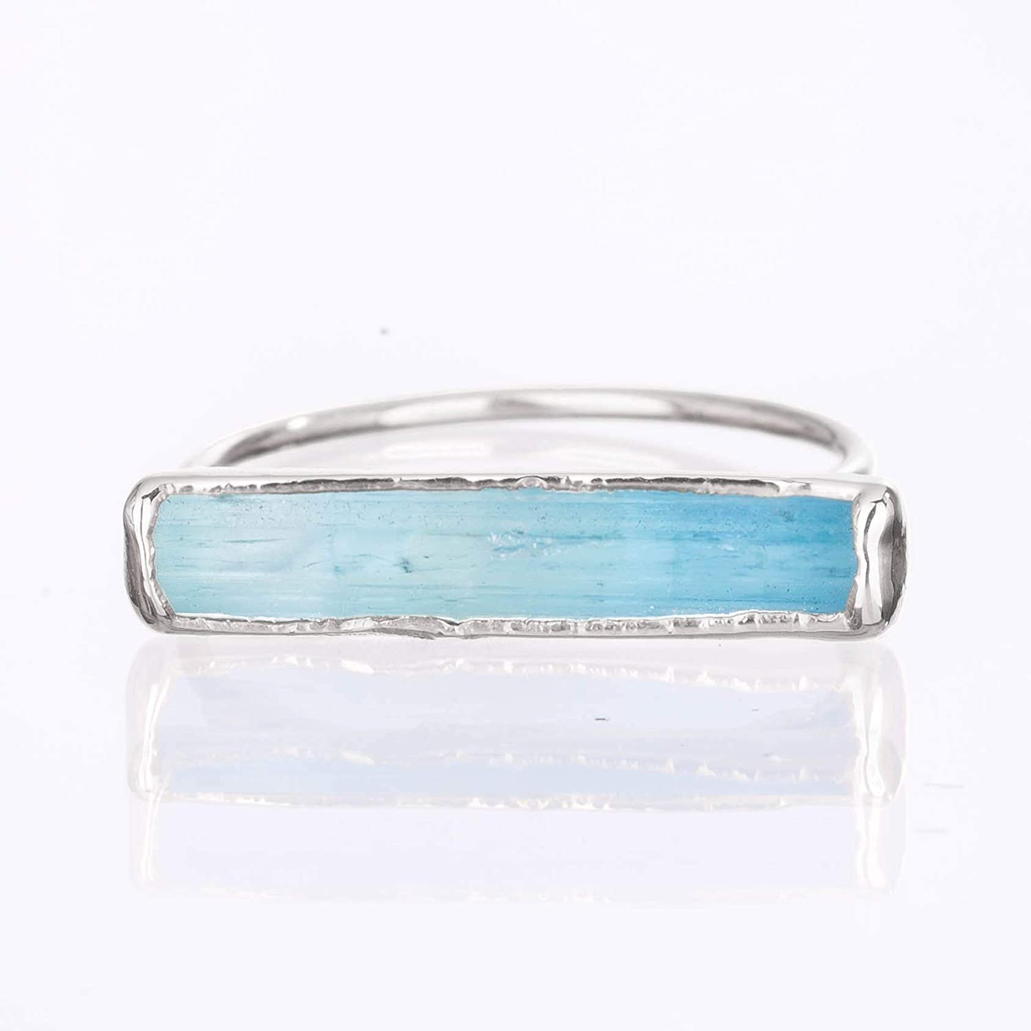 Size 6 Raw All items in the store Aquamarine Ring Silver March OFFicial mail order Sterling Birthstone Je