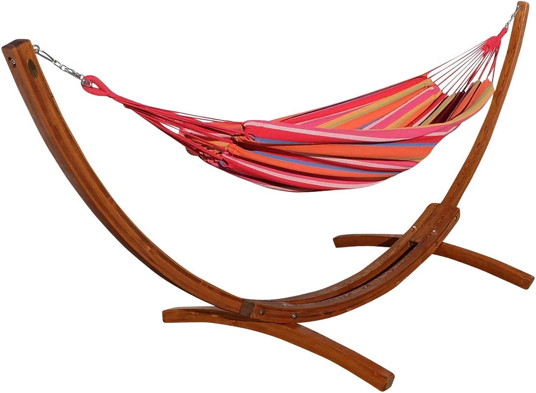 ASS 350cm Hngemattengestell Mona Gestell aus Holz Lrche mit bunter Tuch Hngematte von