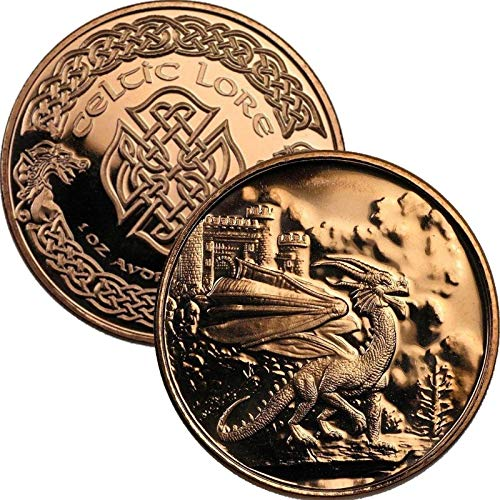 Jig Pro Shop Celtic Lore Series 1 oz .999 Pure Copper Round/Challenge Coin (Welsh Red Dragon)