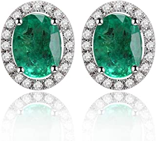 Lanmi 14K Rose White Gold Natural Emerald Earrings Studs with Diamonds for Women