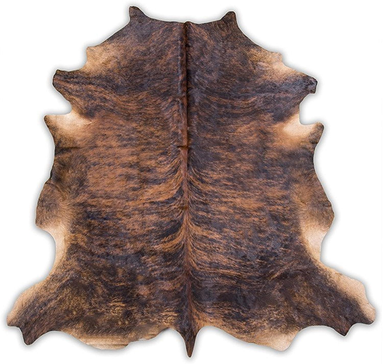 Cowhide Rug, Dark Brindle  medium (5X7)