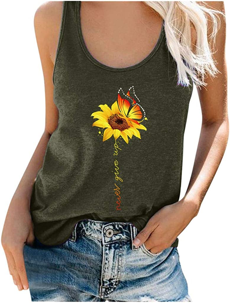 Women Sunflower Butterfly Graphic Tank Tops Shirts Summer Plus Size Sleeveless Funny Print Casual Tops Blouse