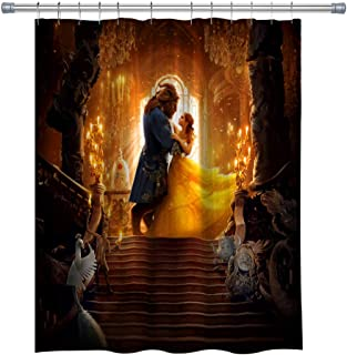 summer007 Beauty and The Beast Shower Curtain, Kids Bathroom Decorative Cartoon Shower Curtain, Waterproof Fabric Shower Curtain for Bathroom, Bathroom Accessories with Hooks, 71X 71 in