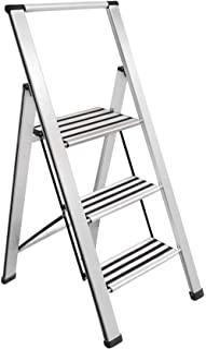 "Sorfey Aluminum Folding 3 Step Ladder, Anti Slip, Sturdy, Lightweight and 2"" Slim Design, Very Easy to Store, Heavy Duty, ..."