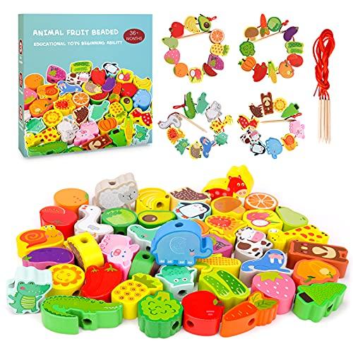 RIKONDA Montessori Lernspielzeug für Kid Girl Boy 3 4 5 Jahre alt,Lernen hölzerne Kleinkindspielzeugspiele für Mädchen Jungen 36 Monate Holzspielzeug Fädelspiel Geschenk Motorikspielzeug 5 6 7 Jahr