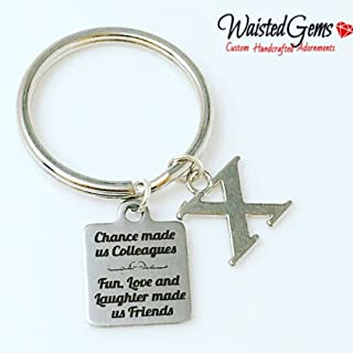 Colleagues Custom Charm Keychain, Secret Santa, Gift Ideas, Key Chains, Fun, Love, and Laughter made us friends