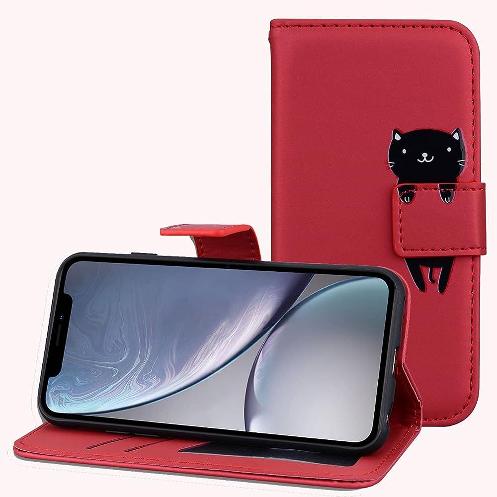 Leinuo custodia per apple iphone 12 mini portafoglio porta carte di credito in pelle sintetica LN-KA-IP-12 5.4-hong