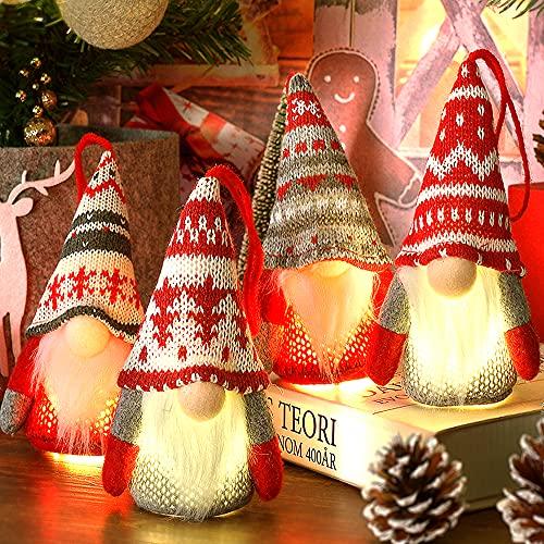 Baodlon Gnome Christmas Ornaments with Led Light, Handmade Swedish Tomte Xmas Gnomes Plush Doll, Scandinavian Santa Elf Table Ornaments, Lighting Hanging Christmas Tree Decorations Home Decor (4 Pack)