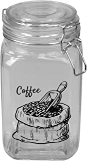 Home Basics Ludlow 43 oz. Glass Canister with Flip Top Lid and Clamp Lock, Airtight Seal for Kitchen Cabinet Pantry Storag...