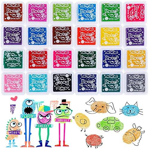 24 Colores Lavable Almohadillas de Tinta Para Niños, Arco Iris Color de Huellas Dactilares Almohadilla de Tinta, Sellos de almohadilla de tinta de huellas digitales Color de bricolaje Lavable
