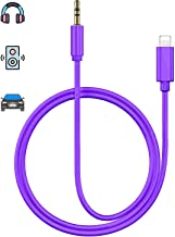Aux Cord for iPhone X Car AUX Cable 3.5mm Compatible for iPhone Xs/XS Max/X/8/7Plus/6/6s Aux Male Cable Audio Adapter for Car/Home Stereo Speaker & Headphone Whihge Support All iOS [Upgraded] - Purple