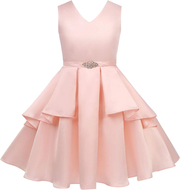 Choomomo Kids Girls Satin Easter Dress V Neck Sleeveless Brooch Sash Princess Pageant Flower Girl Dresses