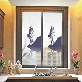 Nature 3D No Glue Static Decorative Privacy Window Films, Silhouette of Lonely Tree by Lake with Mirror Effects Melancholy Illustration,17.7